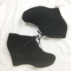 Lucky Brand Black Suede Wedge Ankle Boots